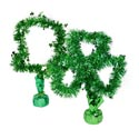 Tinsel Table Hat/shamrock 14in H Green Decor Weighted Bottom/ht