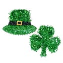 Tinsel Hanging St Pat Decor 17in Jumbo Shamrock And Hat Ht