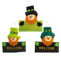 Leprechaun Welcome Sign 3ast Felt 12in Stpat Ht/hanger