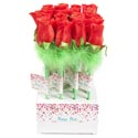 Rose Ballpoint Pen Red W/green Fthr Trim/24pc Pdq W/barbell Lbl