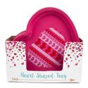 Tray Heart Shaped Plastic Red/pink W/design In 36pc Pdq Upc Label-13 X 12.25 X 1.25in