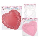 Doilies Heart Shape 30/24/16pk Red/pink/white 9asst Pb/insert 6in/8in/10in