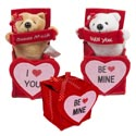 Bear In Felt Ribboned Gift Box 2ast Be Mine/love You 6in H Valentine Hangtag