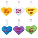 Conversation Heart Pillow 6ast 7inx9.5in Asst Sayings/6clrs Hanging/vday Barbell Hdrcard