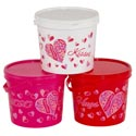 Candy Bucket Plastic Valentine Print 4.75d X 4.25h Upc Label/pink/white/red