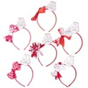 Headband Valentine 6ast Style Bows Red/wht/pink Combos Barbell