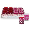 Candle Holder Frosted 2ast Heart & Word Blurbs Red/pink 12pc Pdq Upc Label