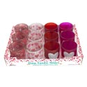 Candle Holder Frosted 4ast Print Or Bling Heart 12pc Pdq