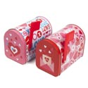 Mail Box Shaped Tin 2ast Valentine Designs 5x3x3.75in Hinged Lid/upc Label
