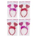 Headband Valentine W/heart Shape Ast W/feather Trim/val Pbh