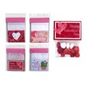 Valentine Treat Bag 12ct 4ast Toppers W/clear Cell Bag 4x4in 12pc Mdsgstrip/val Pbh