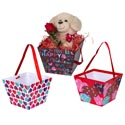 Bucket Paper Valentine 3ast Prints/ribbon Handle Val Ht 7.5 X 7.5 X 5.625 In