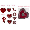 Cutouts Val Hanging Hearts/cupid Red/metallic Paper Decor 5asst Valentine Pb/hdr