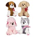 Plush Soft Doggy 9.5in Valentine Bows And Paws 6x8.5x9.5in/ht
