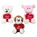 Plush Valentine Animal Holding Heart Pillows 5x6x8in 3ast/ht