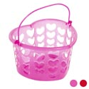 Basket Heart Shape Plastic W/diecut Hearts 4astclr/val Ht Teal/white Solid Red/pink Glittr