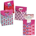 Gift Bag Small 3pk Valentine Vecro/ribbon 2asst Combos 4.875x2.375x6.375in Val Barbell