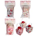 Favor Box 4ct Heart Closure 3ast Val Prints Foil Paper 2.36sq In W/handle Val Insrt/hdr