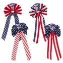 Bow Patriotic 26in Velvet 4asst Styles Stars/stripes Patriotic Tie On Card