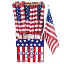 Flag American 3pk 12x7/10inch ** Wood Dowel In 72pc Pdq Patriotic Label