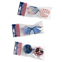 Patriotic Glasses 3ast Peace/star/screened Patriotic Opp Bag W/header Insert