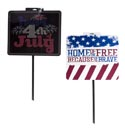 Yard Sign Patriotic 26inl2ast W/plastic Pole/barbell Label Square Shaped 14.5x15in Sign