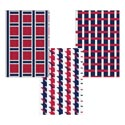 Placemat Paper Red/white/blue 3asst Patterns 17.75x11.75 Pat Ht