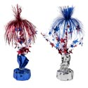 Balloon Weight/tinsel Centerpice Patriotic 12in 2ast Blue/silver Base W/star Spray Patriotic L