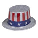 Hat Patriotic Glitter Tophat Plastic 10in Stars N Stripes Label