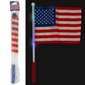 Flag Usa On 17in Led Light Stick Blue Or Red Multiclr Lights 3-function Lightup Feat Pat Pbh