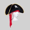 Pirate Hat Velvet 17 X 6.5in W/gold Trim & Red Tie Pirate Art Hangtag