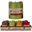 Candle Led Flicker Pillar W/ Glitter 2.7/3in 4ast/12pc Pdq Harvest Brown/gold/red/green