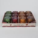 Votive Holder Glass Harvest 4 Colors W/greetings 12pc Pdq Upc Label
