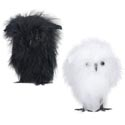 Owl 4in Feathered 2ast Black Or White W/halloween Ht In 24pc Pdq