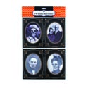 Spooky Haunted Photo Frames 4pk 5x7in W/blk N White Images Pbh Cardboard W/lenticular Effect