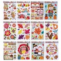 Window Cling Harvest 12ast Mixed Styles 6 Glitter/6 4cprint