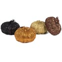 Pumpkin Large W/all Over Glitter & Sequin 4ast Colors 6in/ht Orange/copper/black/gold