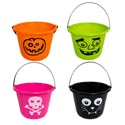 Bucket Pumpkin W/handle 4ast Designs/colors 9in Dia X 7in H 100g Hw/ht