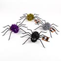 Spider Tinsel W/plst Legs 10in Decor 4ast Colors Halwn Ht W/elastic For Hanging