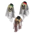 Skull W/lace Veil/flower Hang Decor 3ast Colors Hlwn Ht
