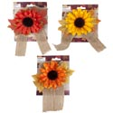 Scarecrow Hair Accessory 3ast Color Sunflower W/burlap Tails 7 X 6in