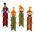 Scarecrow Welcome Banner 4ast 23in Harvest Ht