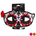 Day Of The Dead Carnivale Mask 3ast Colors W/sequin Trim Poly Fabric Design Tie On Card