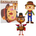 Cutout Jointed 36in 3ast Harvest Icons Turkey/scarecrows Pbh
