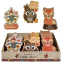 Table Decor Mini Harvest 3ast Mdf 3.75x5.75in 24pc Pdq/label Mdf Comply Sticker Owl/fox/scare