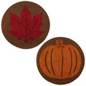 Placemat Harvest 15in Round Felt W/eva Glitter Cutout Leaf/pumpkn Harvest Ht/jhook