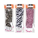 Costume Animal Print Glovelets Fingerless 3ast Prints Pbh W/shaped Hand Backer Card