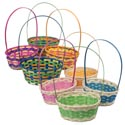 Easter Basket Multicolor Weave Oval Bamboo 10x7.5x15.5 8asst Long Handle Easter Hangtag