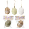 Egg Decor 3.9in Twine/paper 3 Plain/3 W/lace Detail Wrapped W/hanging Loop Easter Header
