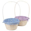 Easter Basket Rnd Natural Bamboo 2ast Clr W/checker Pattern Liner 11.25dx6inhx19in W/long Fxd